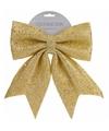 Kerstboom decoratie strik goud met kraaltjes 34 cm