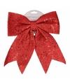 Kerstboom decoratie strik rood met pailletten 34 cm