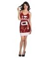 I love Santa jurkje rood met pailletten